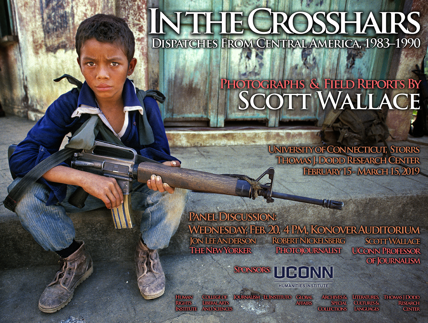 Poster of young boy with gun for In the Crosshairs talk